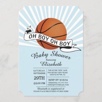 Modern Oh Boy Sports Basketball Boys Baby Shower Invitation