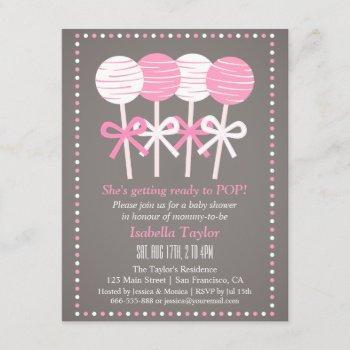Modern Pink Cake Pops Baby Shower Invitations