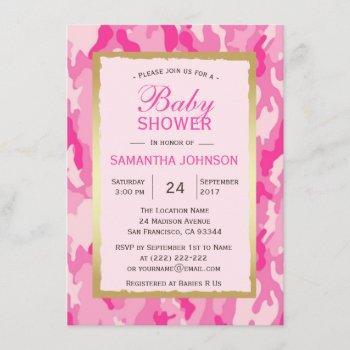 Modern Pink Camo Baby Shower  - Girl