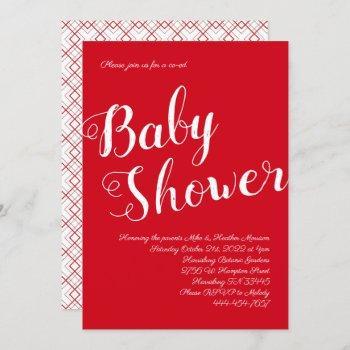 Modern Red Baby Shower Co-ed Gender Neutral Invitation