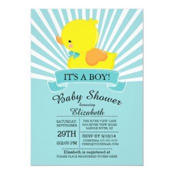 Modern Rubber Duck Boys Baby Shower Invitation