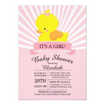 Modern Rubber Duck Girls Baby Shower Invitation