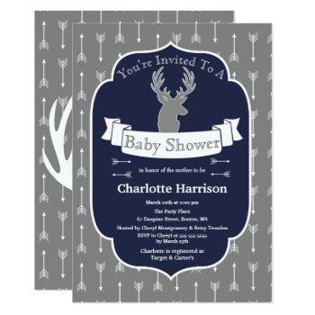 Modern Rustic Gray & Navy Deer & Arrow Baby Shower Invitation