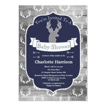 Modern Rustic Navy Deer & Gray Wood Baby Shower Invitation