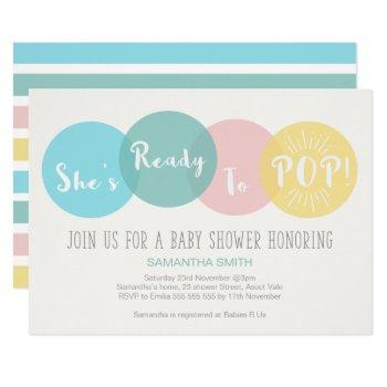 Modern She's Ready To Pop Baby Shower Invitation