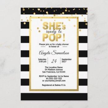 Modern She's Ready To Pop Gold Unisex Baby Shower Invitation
