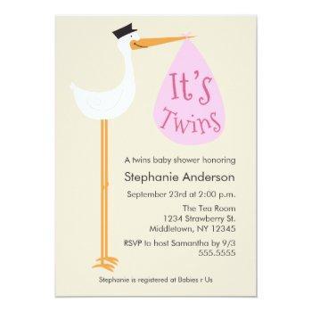 Modern Stork Baby Shower Invitation - Twin Girls