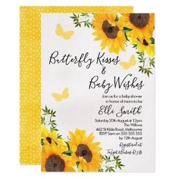 Modern Sunflower Butterfly Baby Shower Invitation