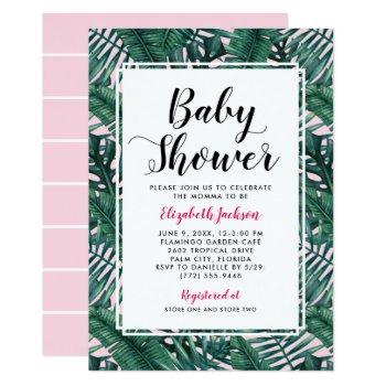 Modern Tropical Baby Girl Shower Palm Leaves Pink Invitation