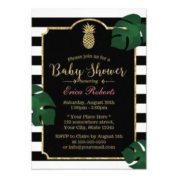 Modern Tropical Pineapple Hawaiian Baby Shower Invitation