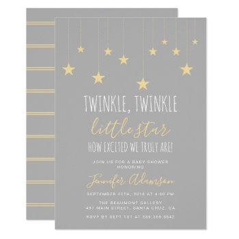 Modern Twinkle Little Star Baby Shower Invitation