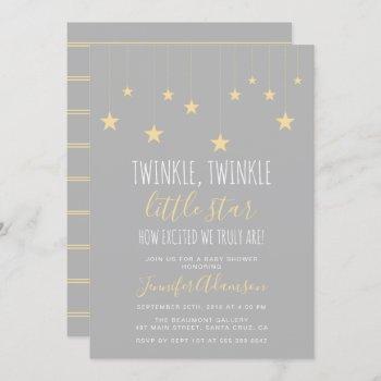 Modern Twinkle Little Star Baby Shower Invitation