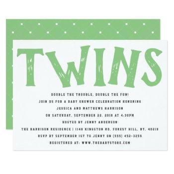Modern Typography Neutral Twins Baby Shower Invitation