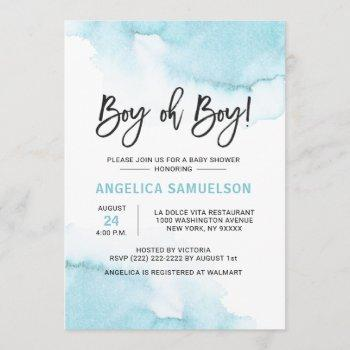 Modern Watercolor Blue Boy Oh Boy Baby Shower Invitation