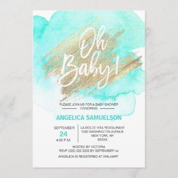 Modern Watercolor Mint Green Gold Oh Baby Shower