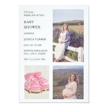 Modern White Photo Collage Girl Baby Shower Invitation