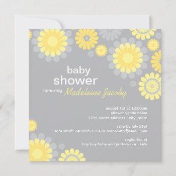 Modern Yellow And Gray Daisy Flowers Baby Shower Invitation