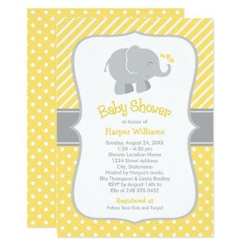 Modern Yellow And Gray Elephant Baby Shower Invitation
