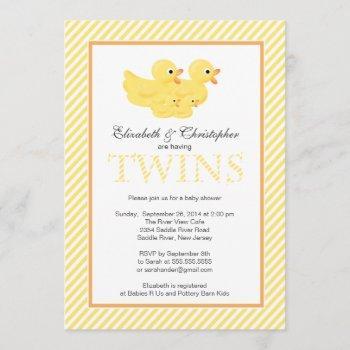 Modern Yellow Ducks Couple Twins Baby Shower Invitation