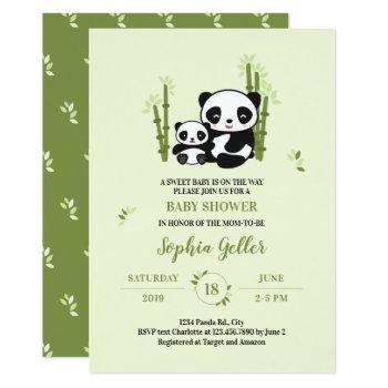 Mom And Baby Panda Bear Baby Shower Invitation
