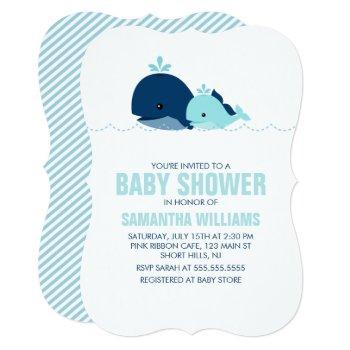 Mom And Baby Whale Baby Shower {blue} Invitation