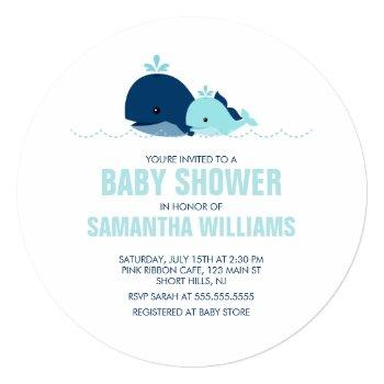 Mom And Baby Whale Boy Baby Shower Invitation