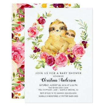 Mom & Baby Sloth Baby Shower Invitation
