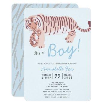 Mom Tiger & Cub Blue Boy Baby Shower Invitation