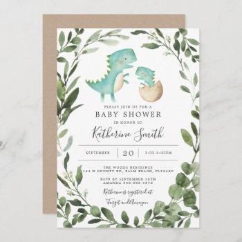 Mommy Baby Dinosaur Baby Shower Invitation