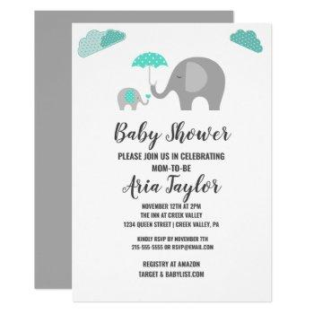 Mommy Baby Elephant With Clouds Baby Shower Invitation