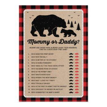 Mommy Or Daddy | Bear Lumberjack Baby Shower Game Invitation