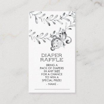 Monkey Neutral Baby Shower Diaper Raffle Ticket Enclosure Card