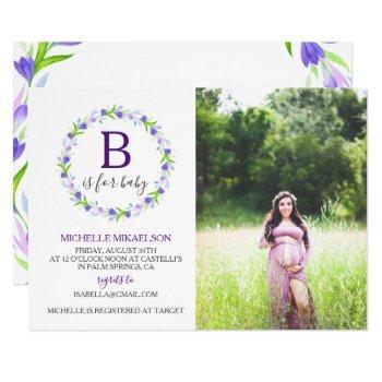 Monogram B Is For Baby Shower Photo Invitation