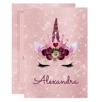 Monogram Blush Pink Sparkle Unicorn Baby Shower Invitation