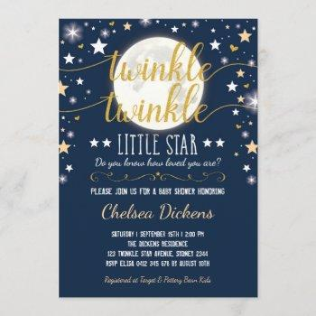 Moon Baby Shower Twinkle Little Star Navy Gold Invitation