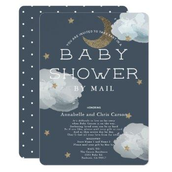 Moon, Stars & Clouds Navy Baby Shower By Mail Invitation