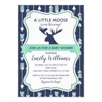 Moose Baby Shower Invitation For Boys