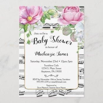 Music Floral Baby Shower  Pink White