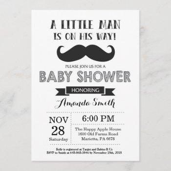 Mustache Baby Shower  Black And Gray
