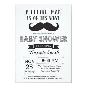 Mustache Baby Shower Invitation Black And Gray
