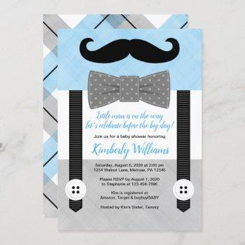 Mustache Baby Shower  Blue Little Man