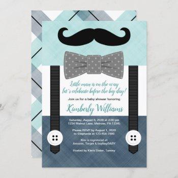 Mustache Baby Shower Invitation Boy Mint Navy Gray
