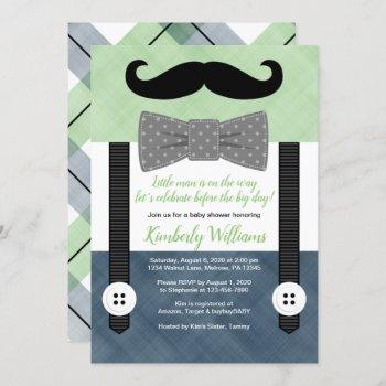 Mustache Baby Shower  Green Navy Bow Tie
