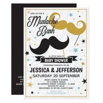 Mustache Bash Boy Baby Faux Glitter Shower Invitation