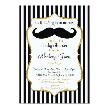 Mustache Boy Baby Shower Invitation Black Gold