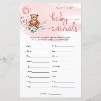 Name The Baby Animals Teddy Bear Eucalyptus Game