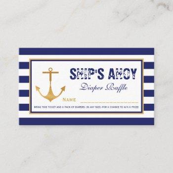 Nautical Anchor Baby Shower Diaper Raffle Ticket Enclosure Card