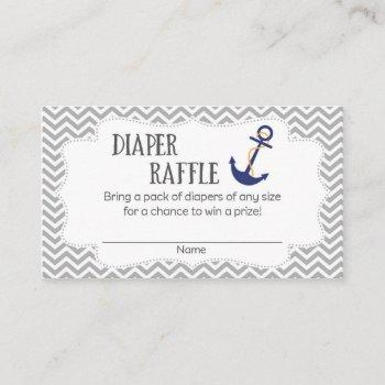 Nautical Anchor Baby Shower Diaper Raffle Tickets Enclosure Card