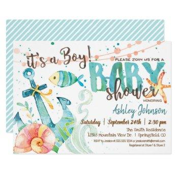 Nautical Anchor Baby Shower Invitation, Boy Invitation