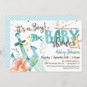 Nautical Anchor Baby Shower Invitation, Boy Invitation